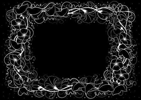 Illustration of abstract floral frame with leaves and bindweed flowers in black and white colors  Illustration