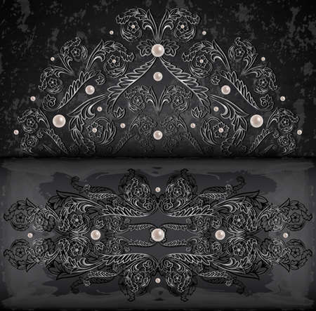 Illustration of card with banner, abstract silver ornament, pearls and grunge texture