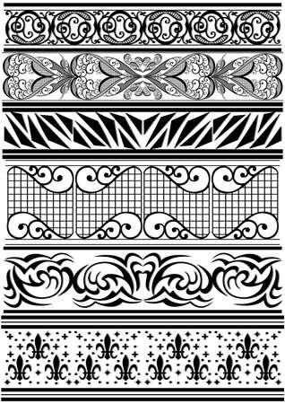 Illustration of design elements, dividers and floral ornaments  Illustration