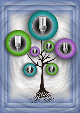 Illustration of abstract tree with energy saving bulbs and grunge texture