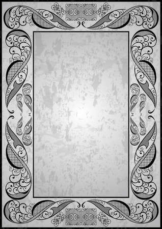 Illustration of abstract ornate frame on grunge background  Vector