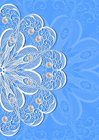 Illustration of card with abstract lacy ornament and pearls on blue background