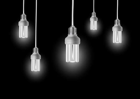 Illustration of energy saving light bulbs with cords on dark background