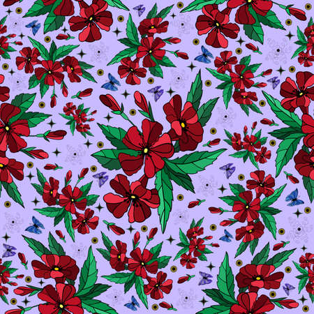 Illustration of colorful seamless floral pattern with butterflies  Illustration
