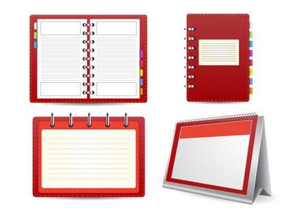 detachable: Illustration of datebook, loose-leaf calendar and organizer set isolated