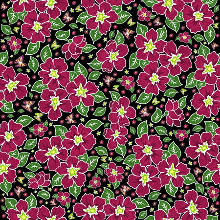 Illustration of seamless floral pattern in pink and green colours on black background  Illustration