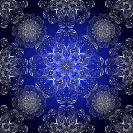 Illustration of seamless pattern with abstract lacy silver ornament on blue background
