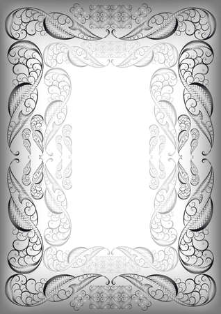 Illustration of abstract ornate frame in grey, black and white colors Vector