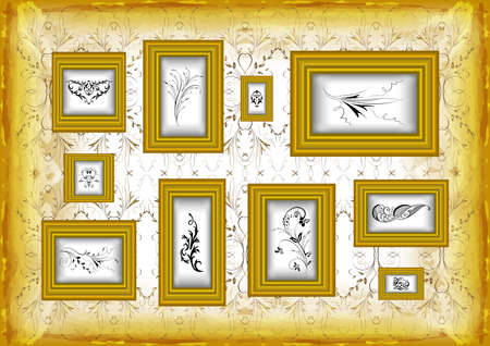 Illustration of golden frames collection on grunge background with abstract floral ornament Illustration