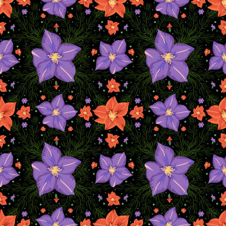 Illustration of seamless floral pattern with lilac and red gladioluses on black background