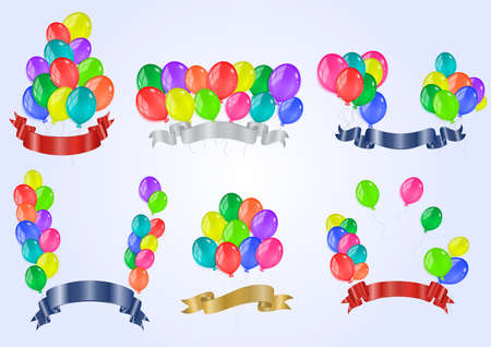 Illustration of banners collection from colorful balloons and ribbons  Vector