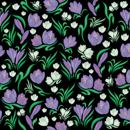 Illustration of abstract seamless floral pattern from crocuses
