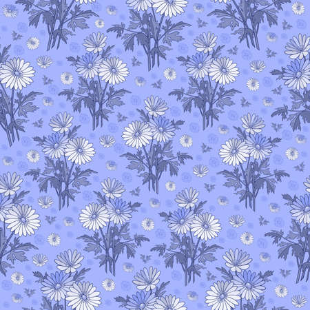 Illustration of seamless floral pattern in white and blue colors