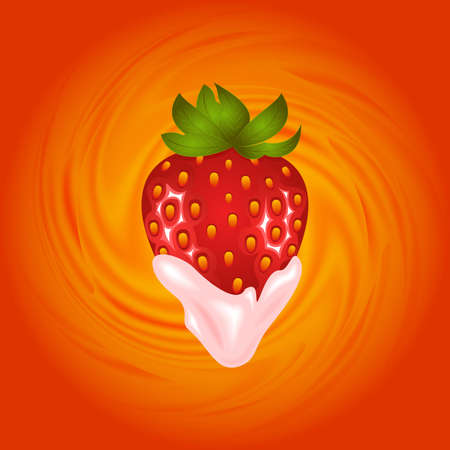 Illustration of strawberry and smooth cream swirl background