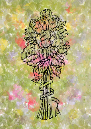 Illustration of abstract doodle roses bouquet in black color on colorful fuzzy background  Vector