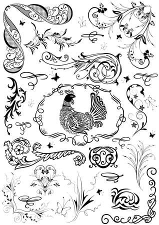 Illustration of design elements, dividers and abstract floral ornaments in black color