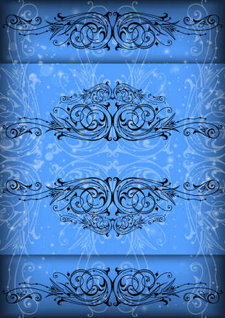 Illustration of abstract floral ornament on blue background