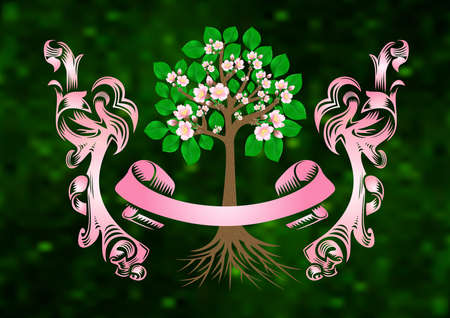rinds: Illustration of blossoming cherry tree with banner and ribbons on green fuzzy background  Illustration