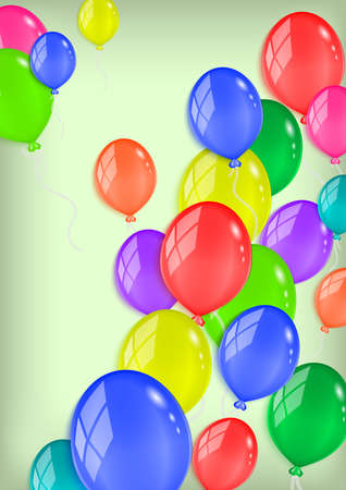 Illustration of colorful glossy balloons with background