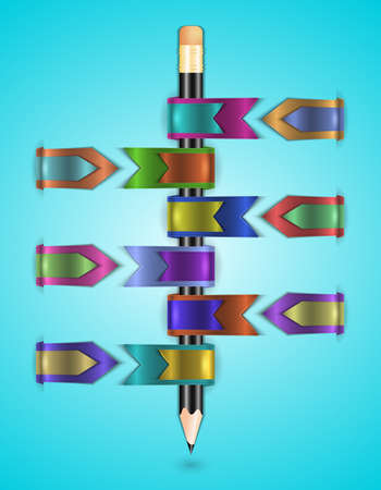 Illustration of colorful and glossy web ribbons in various styles and pencil