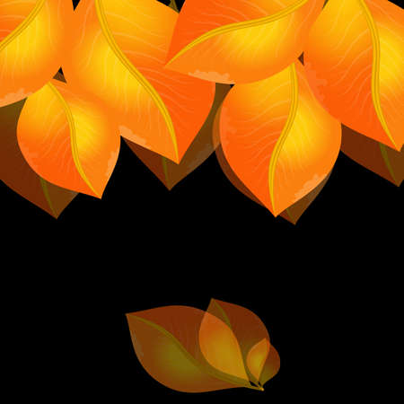 Illustration of abstract golden leaves on black background