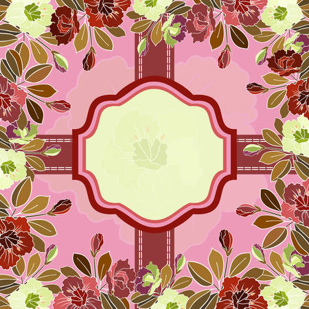 Illustration of abstract colorful floral frame with banner and ribbons  Vector