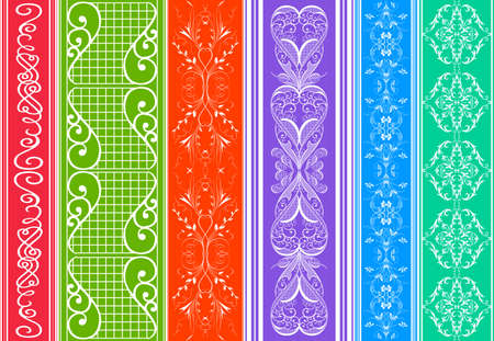 Illustration of design elements, dividers and floral ornaments on colorful background  Illustration