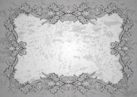 nacre: Illustration of frame with abstract ornament, pearls and grunge texture