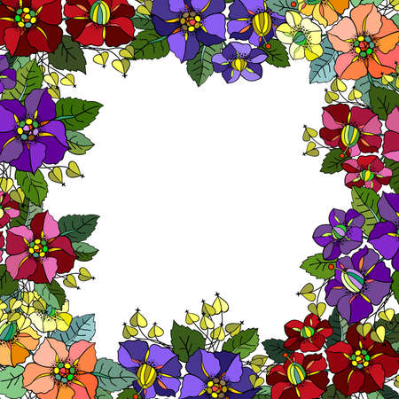 Illustration of abstract colorful floral frame isolated