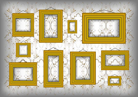 Illustration of golden frames collection on background with abstract floral ornament  Illustration