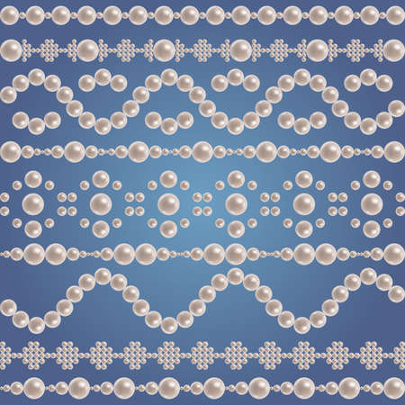 Illustration of pearl borders collection on blue background