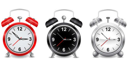 Illustration of alarm clocks in various colors isolated