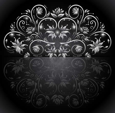 silver texture: Illustration of card with banner, floral silver ornament and grunge texture Illustration