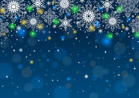 Illustration of snowflakes in various styles on bokeh blue background