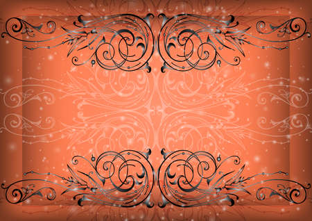 Illustration of abstract background with floral ornament Illustration