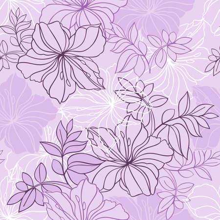 laurier rose: Illustration du motif floral transparente de couleur lilas, rose et blanc