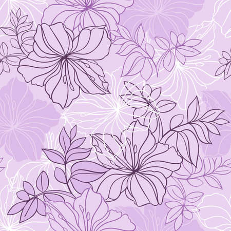 oleander: Illustration of seamless  floral pattern in lilac, pink and white colors