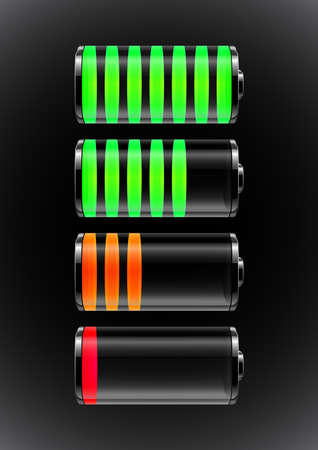 Illustration of transparent batteries with colorful charge indicators
