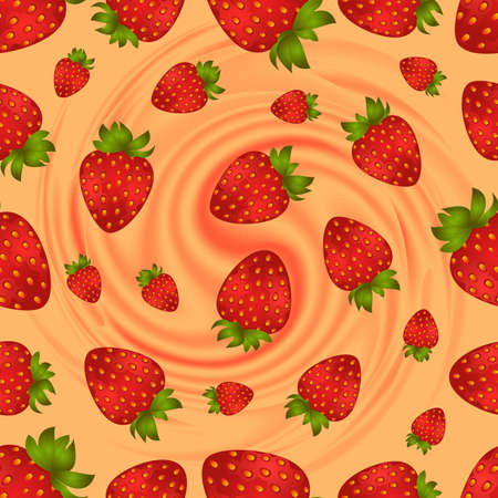 Illustration of seamless strawberry pattern with smooth cream swirl