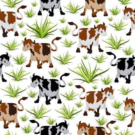 Illustration of seamless pattern with cows in black and brown colours Illustration