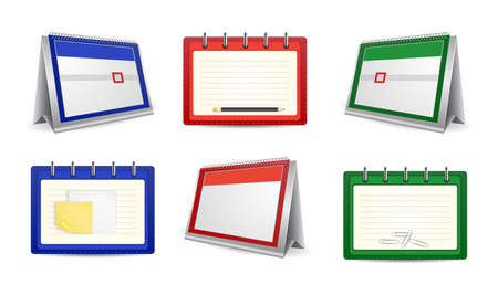 Illustration of loose-leaf calendars and organizers in various colors Vector
