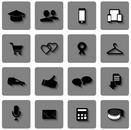 Illustration of shopping, sale and delivery icons for web design