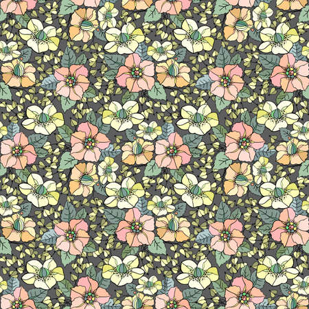 Illustration of seamless colored floral pattern on grey background