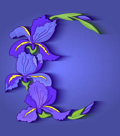 Illustration of abstract iris frame on blue background Vector