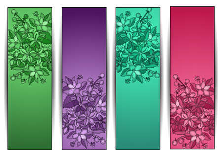 hatched: Illustration of colorful banners with hatched flowers