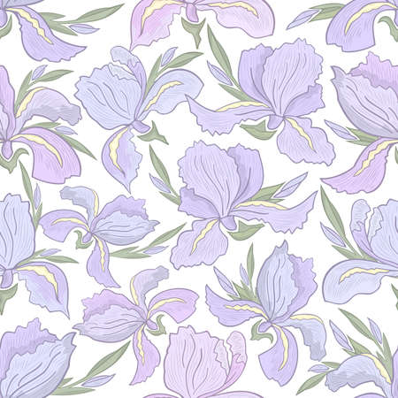 hatched: Illustration of seamless floral pattern with hatched iris flowers isolated