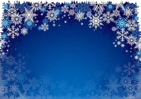 Illustration of Christmas background with blue and white snowflakes in various styles Ilustração