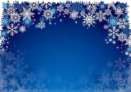 schneeflocke: Illustration von Weihnachten Hintergrund mit blauen und weißen Schneeflocken in verschiedenen Stilen