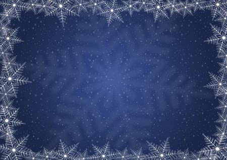 Illustration of Christmas background with snowflake frame Illustration