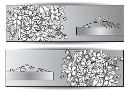 hatched: Illustration of monochrome banners with hatched flowers Illustration